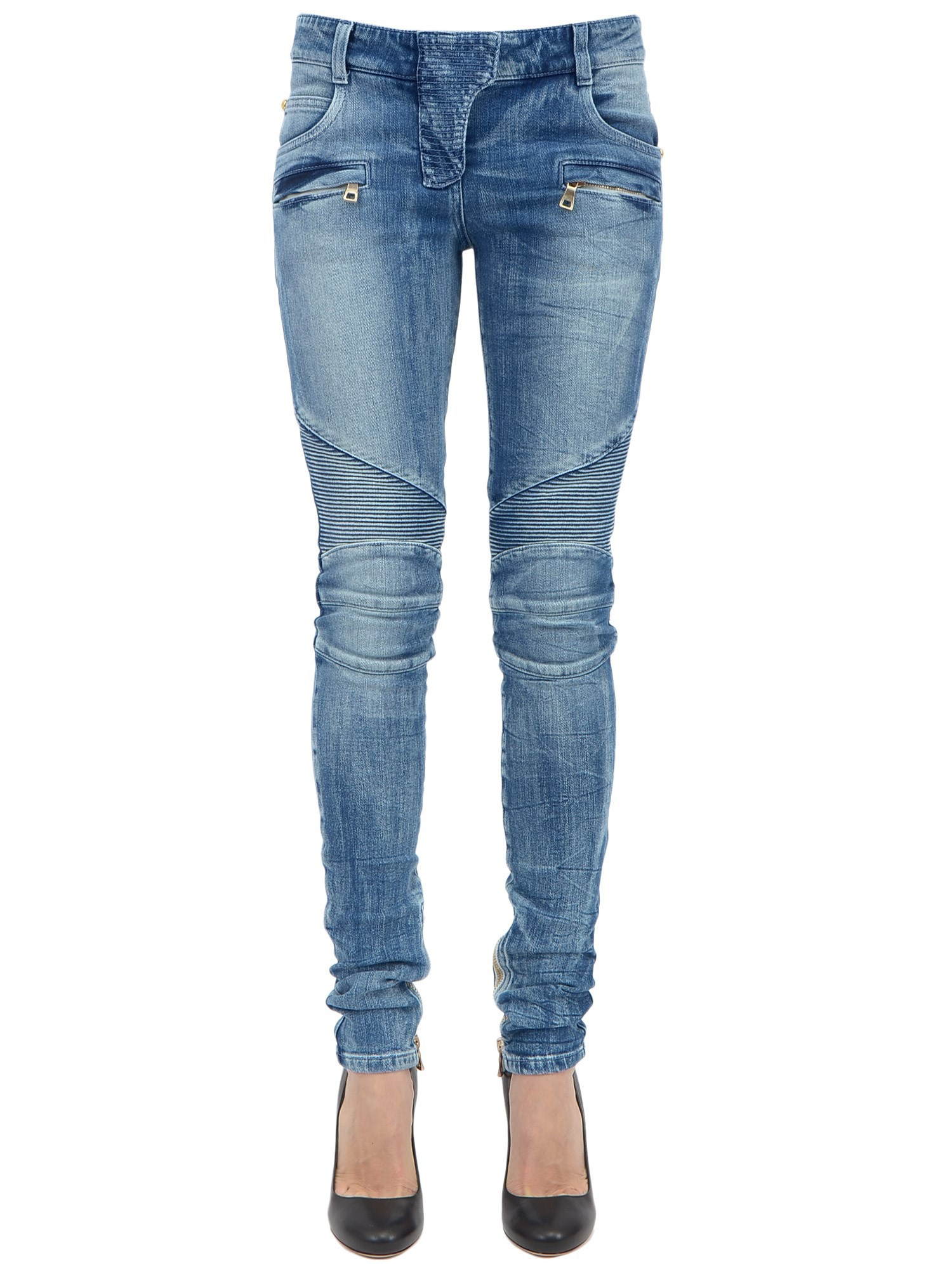 Light blue cotton biker jeans from Balmain featuring a concealed button fastening, a waistband with belt loops, front pockets, back pockets, ribbed details, a stonewashed effect, a .