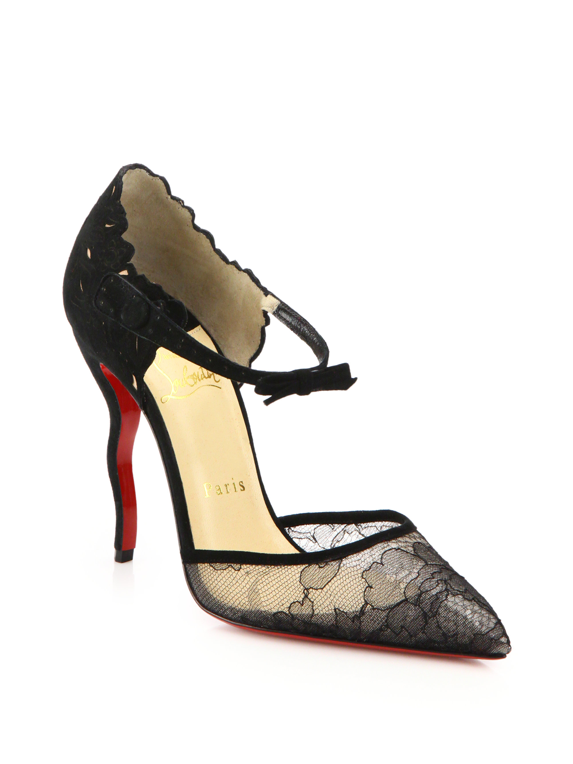Christian louboutin Magicadiva Lace and Leather Sculpted D\u0026#39;orsay ...