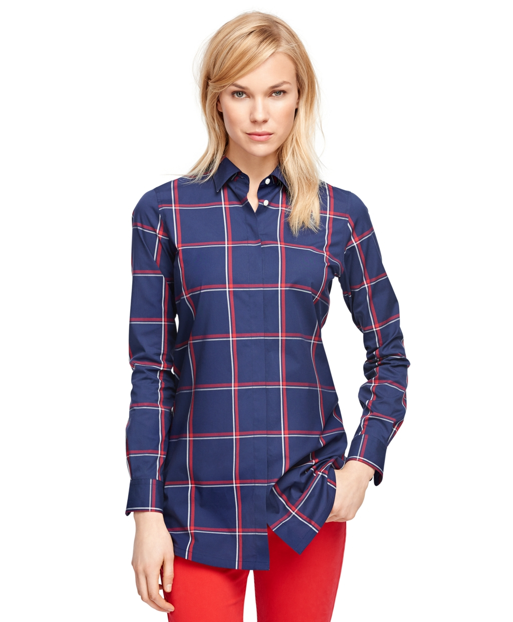 Brooks brothers Cotton Windowpane Tunic in Blue