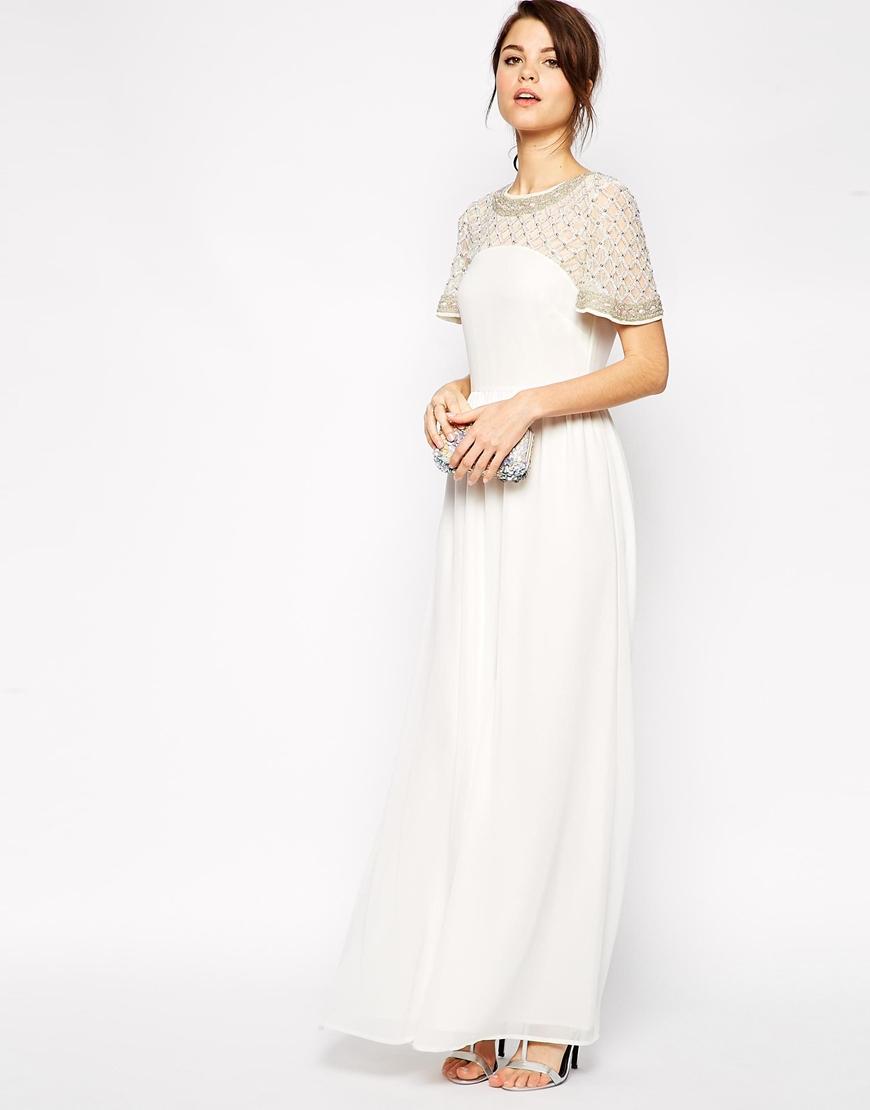 White Flutter Sleeve Maxi Dress