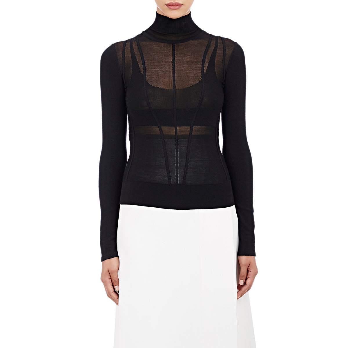 2645347890 Lyst - Narciso Rodriguez Women s Sheer-detail Turtleneck Sweater in ...