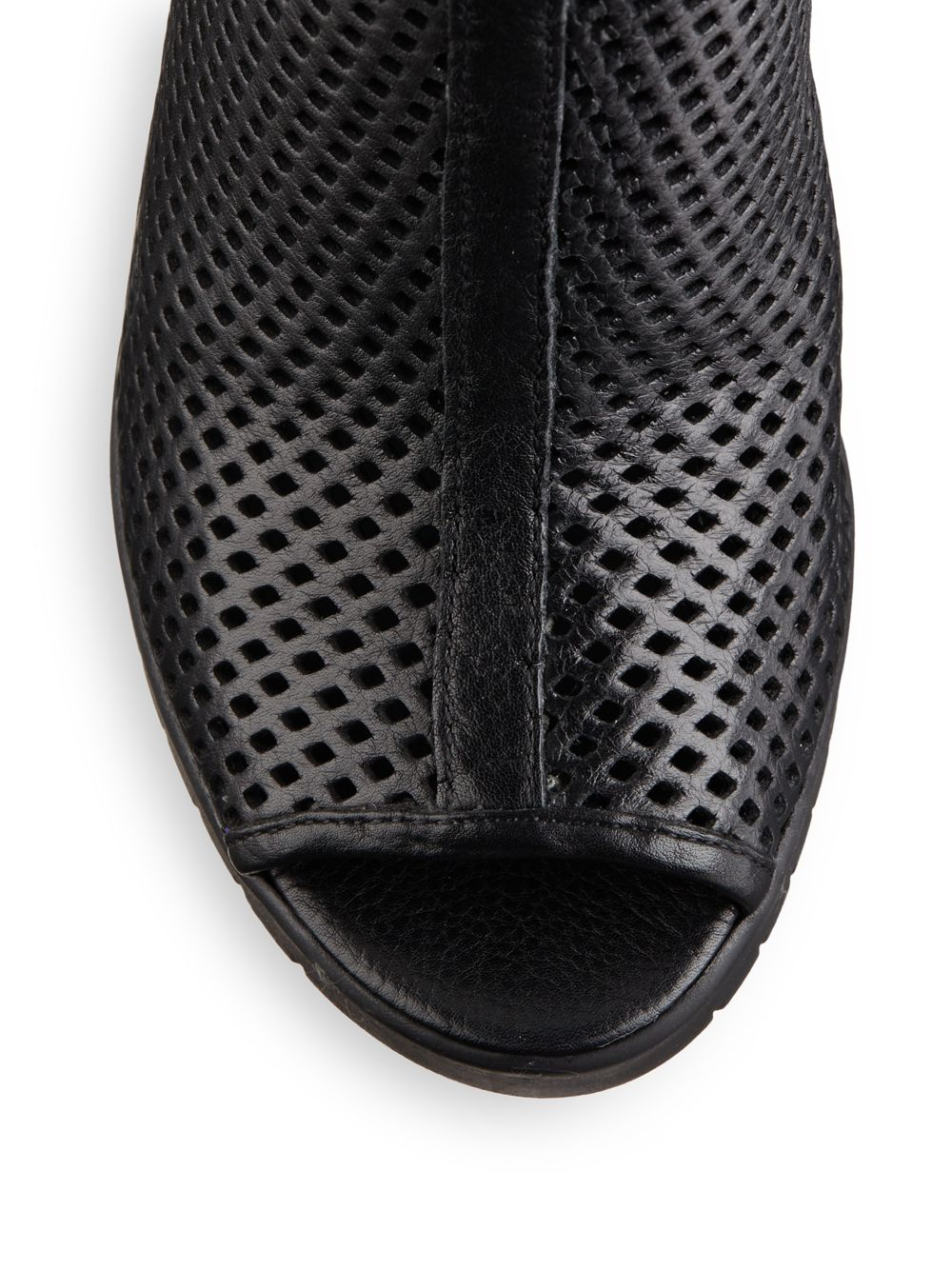 Lyst Ash Perforated Leather Open Toe Ankle Boots In Black