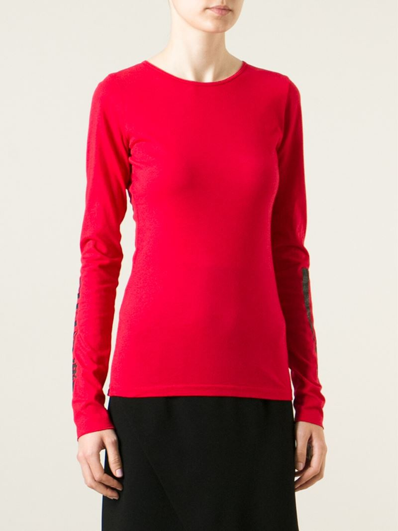 Lyst ashley williams printed long sleeve t shirt in red for Long sleeve printed t shirts