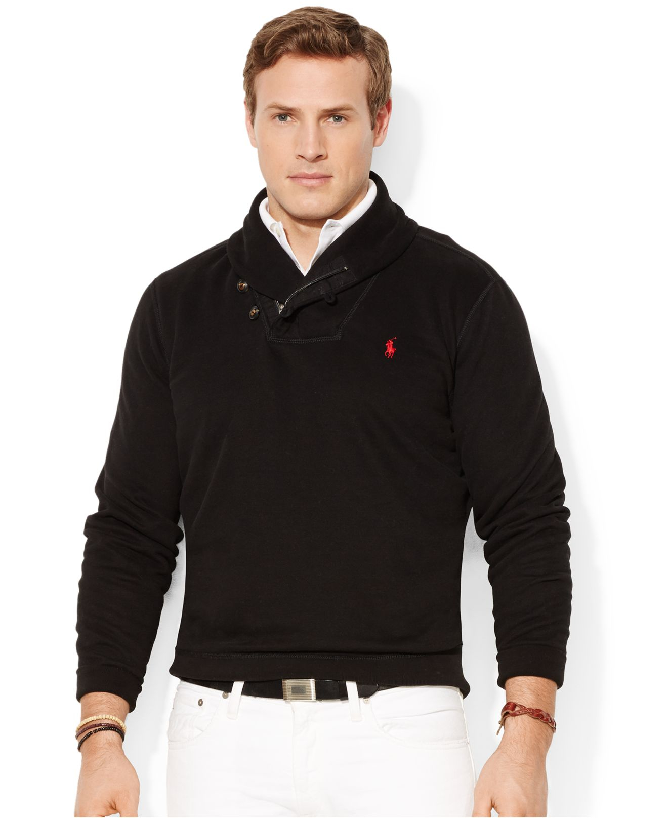 polo ralph lauren big and tall pima fleece shawl pullover in black for. Black Bedroom Furniture Sets. Home Design Ideas