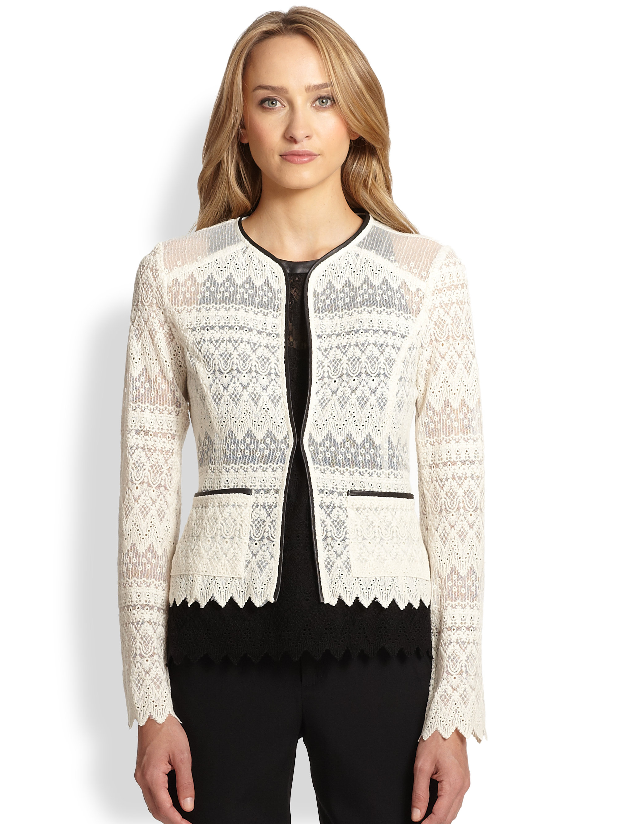 Nanette lepore Journey Lace Cardigan Jacket in White | Lyst