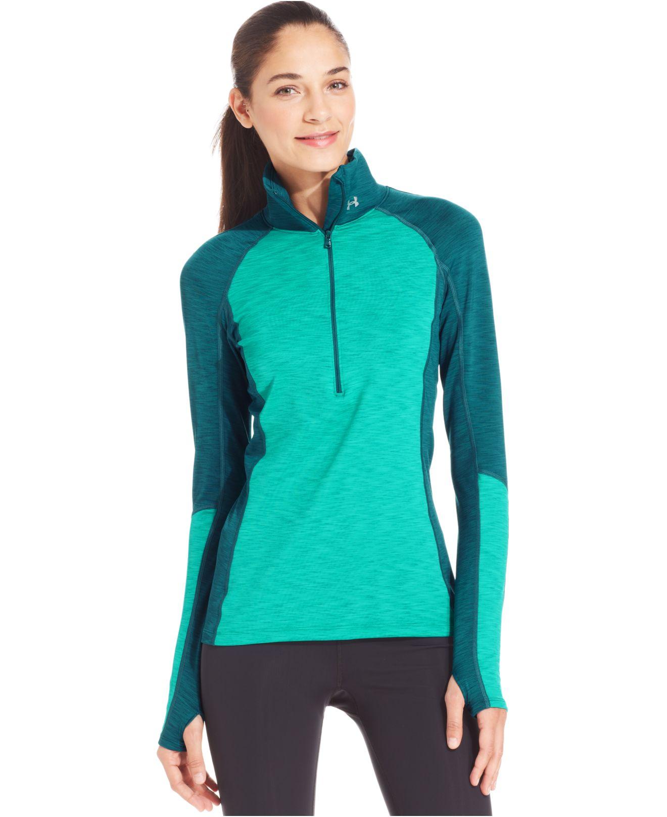 Under armour coldgear cozy long sleeve half zip top lyst for Under armour dri fit long sleeve shirts