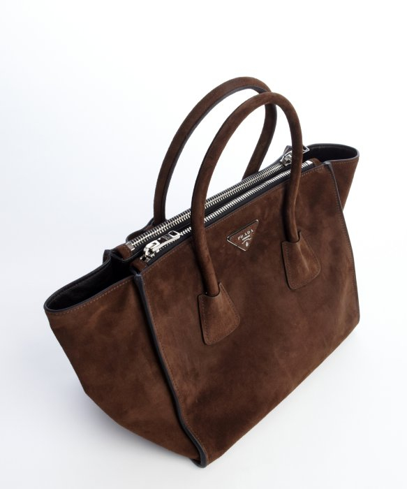 23f60005a4ac 69557 8ca2b; low price prada brown suede twin pocket tote bag in brown lyst  2f5ce 2318e