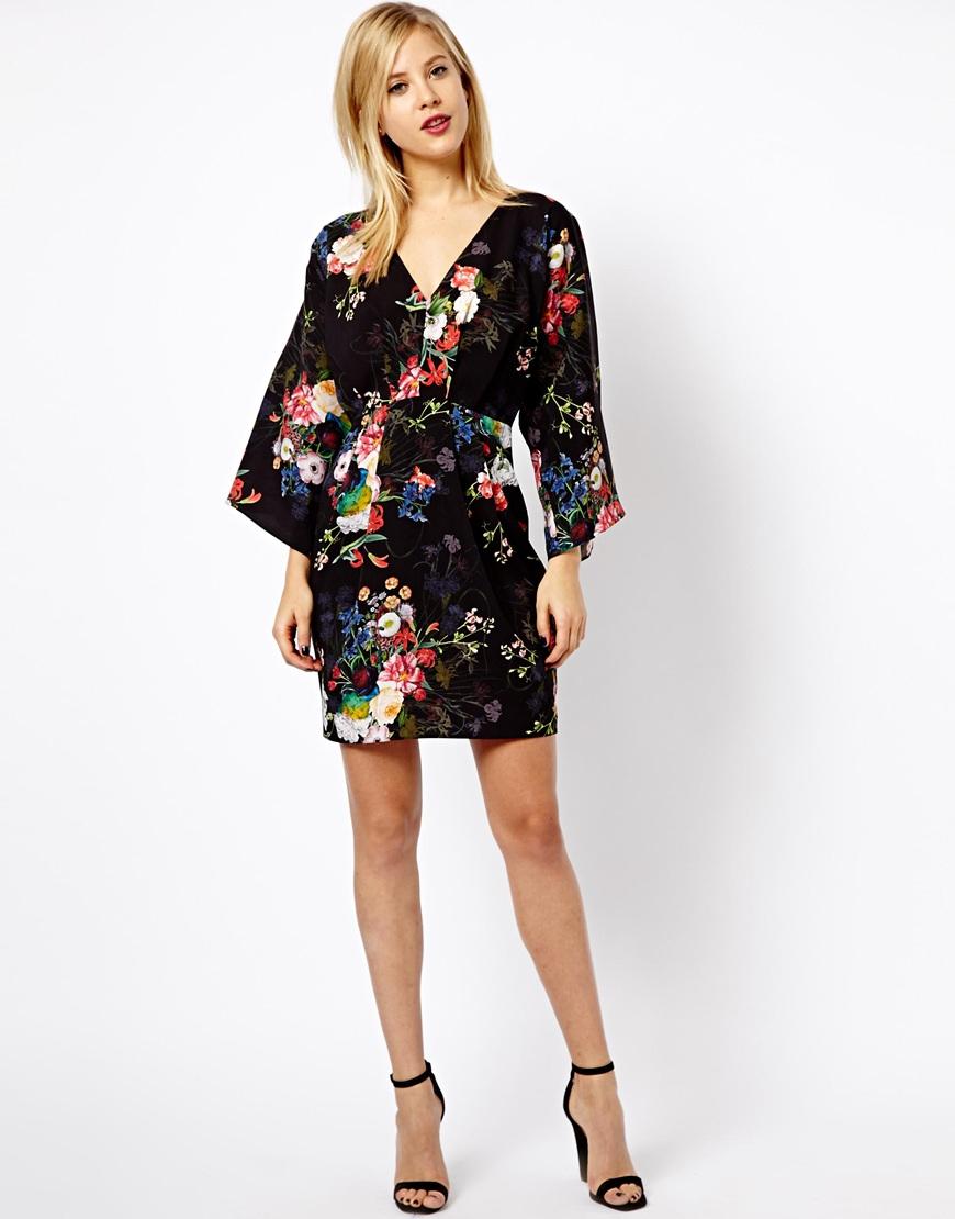 8b8c422719456 ASOS Floral Print Kimono Dress in Black - Lyst