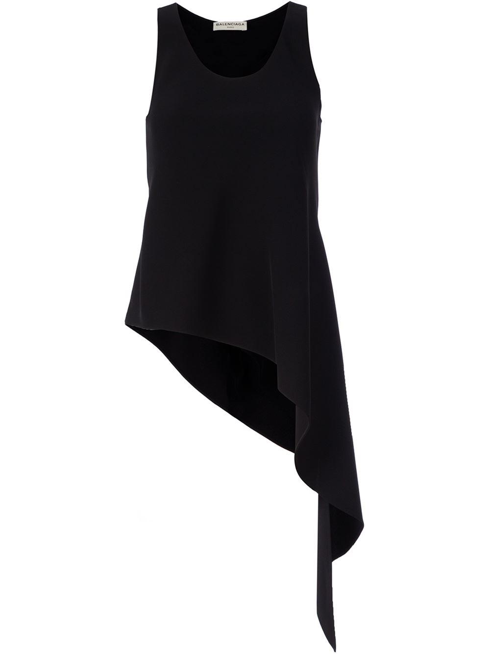 a7825bc4f24ea8 Lyst - Balenciaga Asymmetric Hem Sleeveless Top in Black