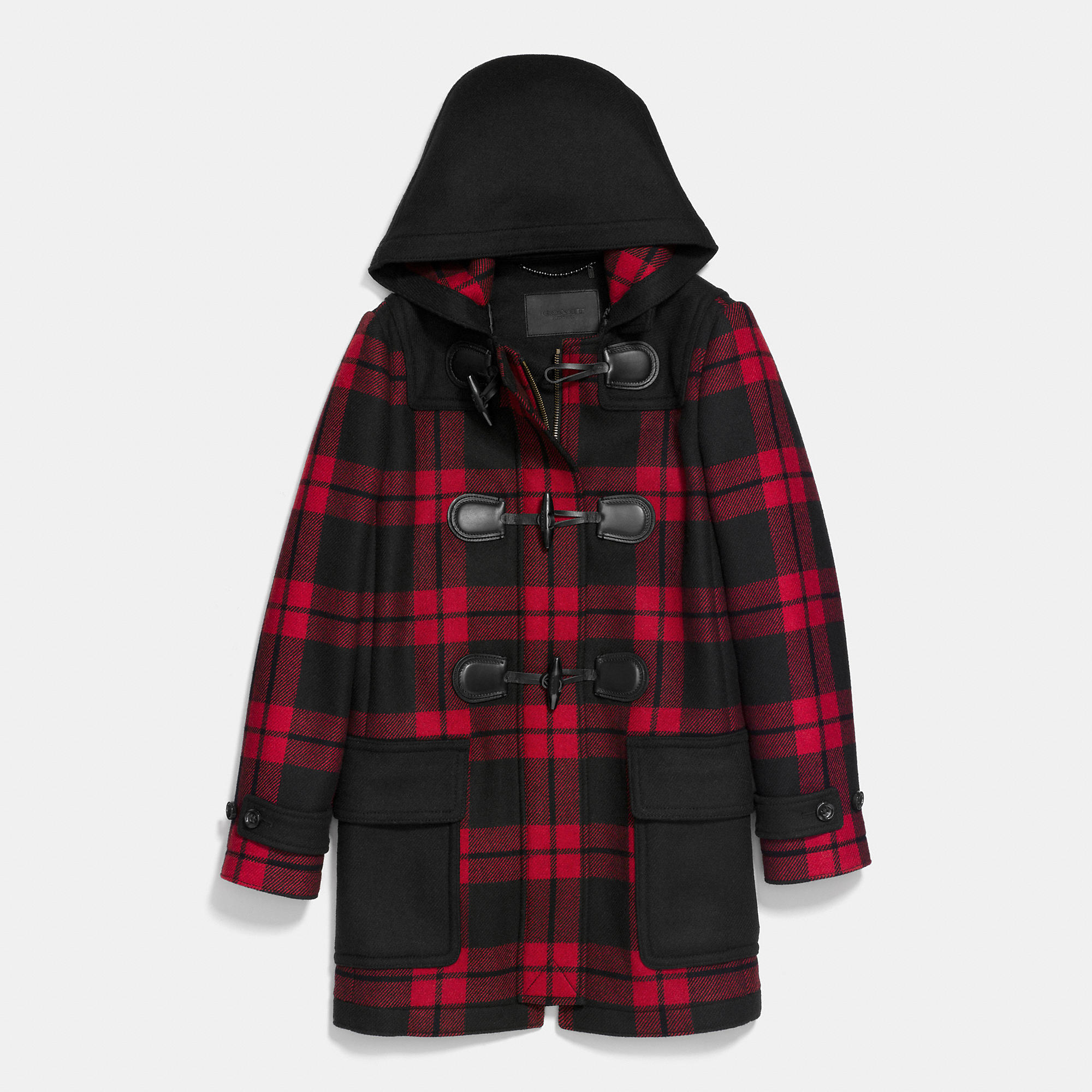 Coach Mount Plaid Duffle Coat in Black | Lyst