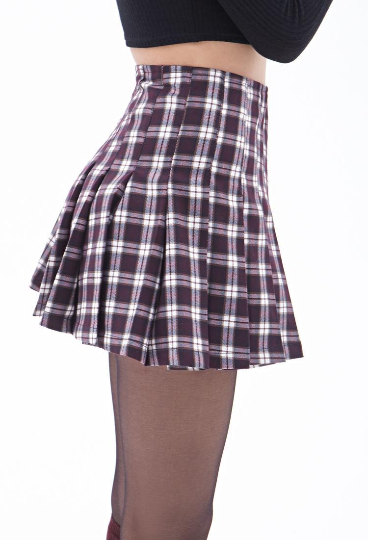 Forever 21 Pleated Plaid Mini Skirt in Purple | Lyst