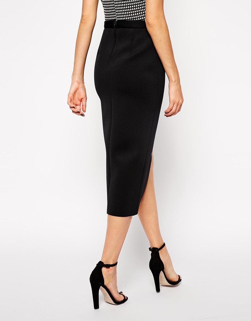 Asos Wrap Pencil Skirt In Bonded Scuba in Black | Lyst