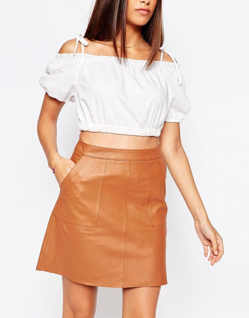 Warehouse Leather Pocket A Line Skirt in Brown | Lyst