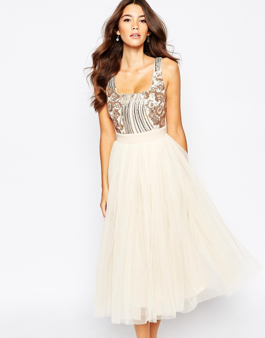 sequin midi dress with tulle skirt in