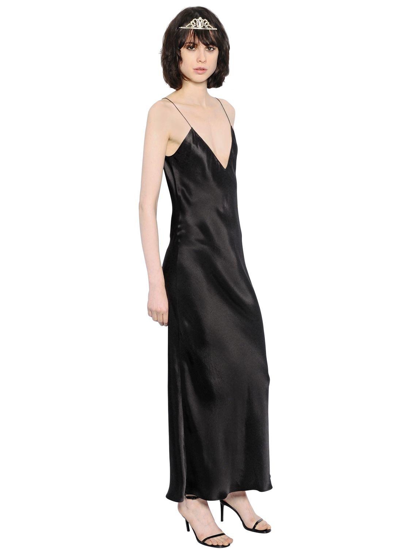 75893ab984 Saint Laurent Silk Satin Slip Maxi Dress in Black - Lyst