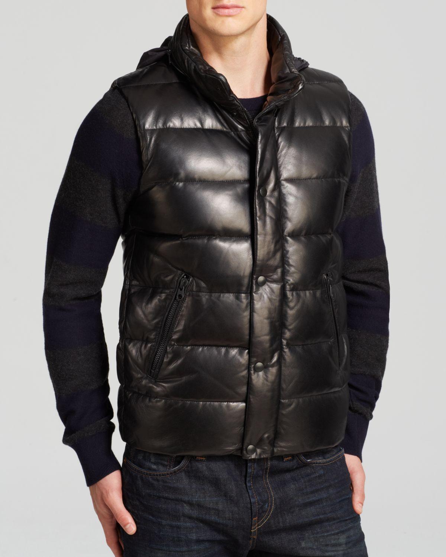 Mackage Joel Leather Down Vest in Black for Men | Lyst