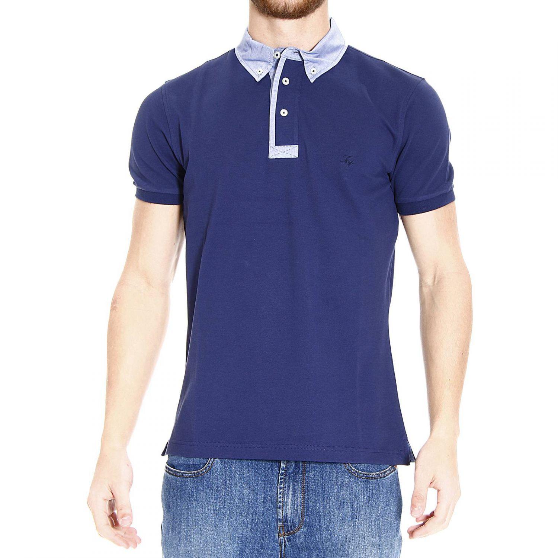 Lyst fay t shirt polo half sleeve piquet collar hambray for Full sleeve polo t shirts