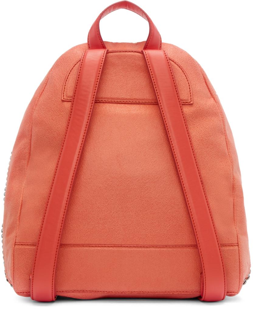 Lyst - Stella McCartney Coral Small Falabella Shaggy Deer Backpack in Orange 667e05a2ac860