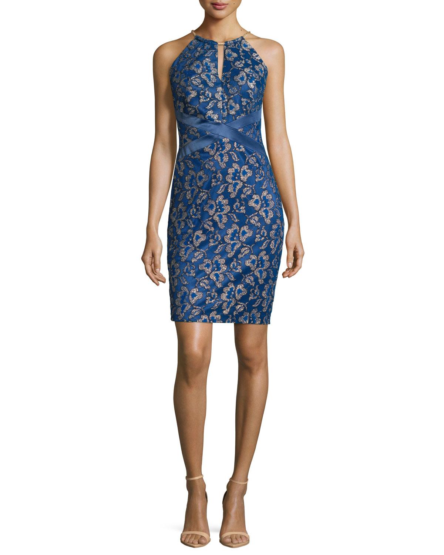 fe424540 Lyst - Jax Studio Metallic Floral-lace Sheath Dress in Blue
