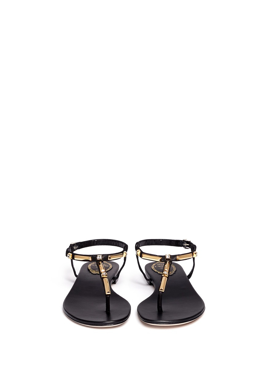 Gallery - Rene Caovilla Gold-Tone And Crystal Embellished Flat Sandals In