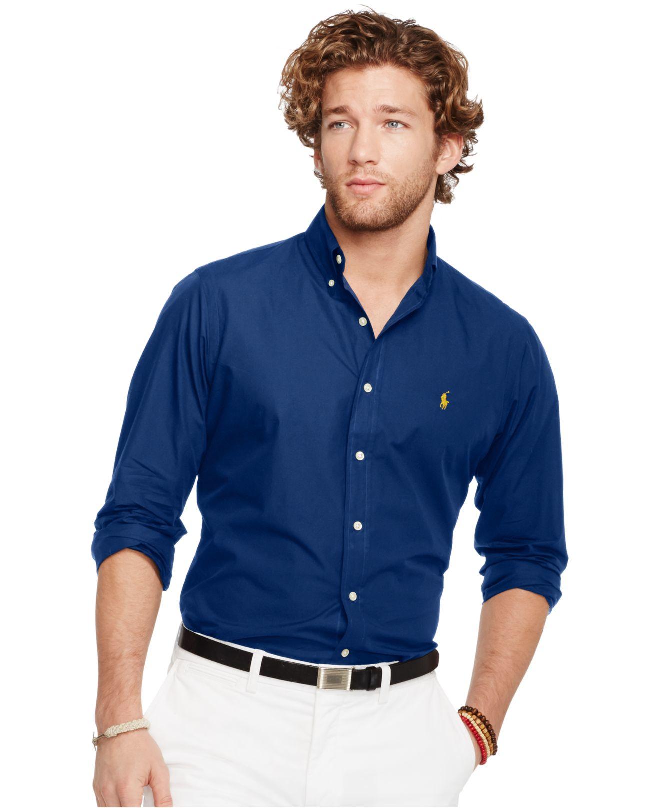 f8db16ca8139b7 Polo Ralph Lauren Men's Slim-fit Poplin Shirt in Blue for Men - Lyst