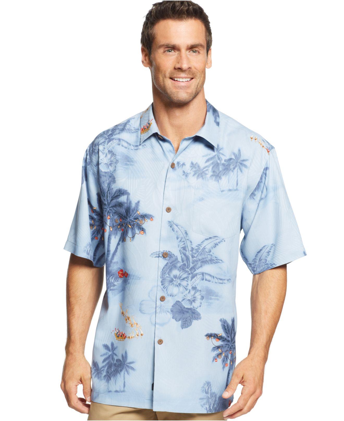 Tommy Bahama Dashing Through The Palms Silk Shirt In Blue