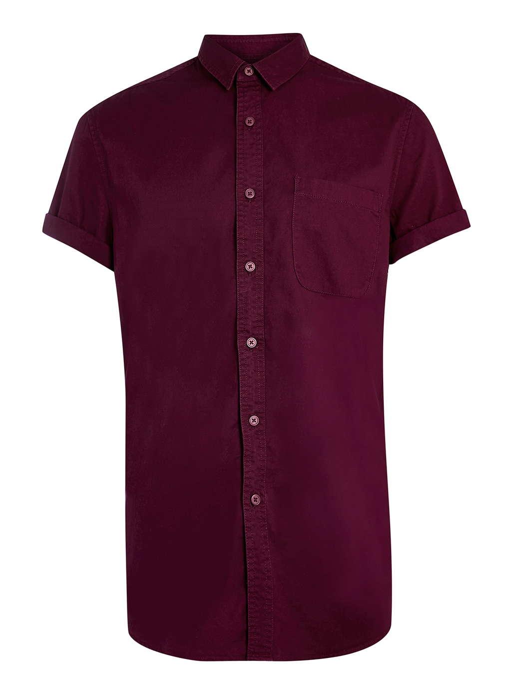 Topman washed burgundy short sleeve casual twill shirt in for Short sleeve casual shirt