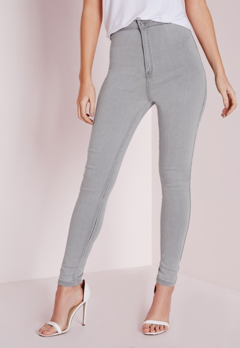 Missguided Vice Super Stretch High Waisted Skinny Jeans Light Grey ...