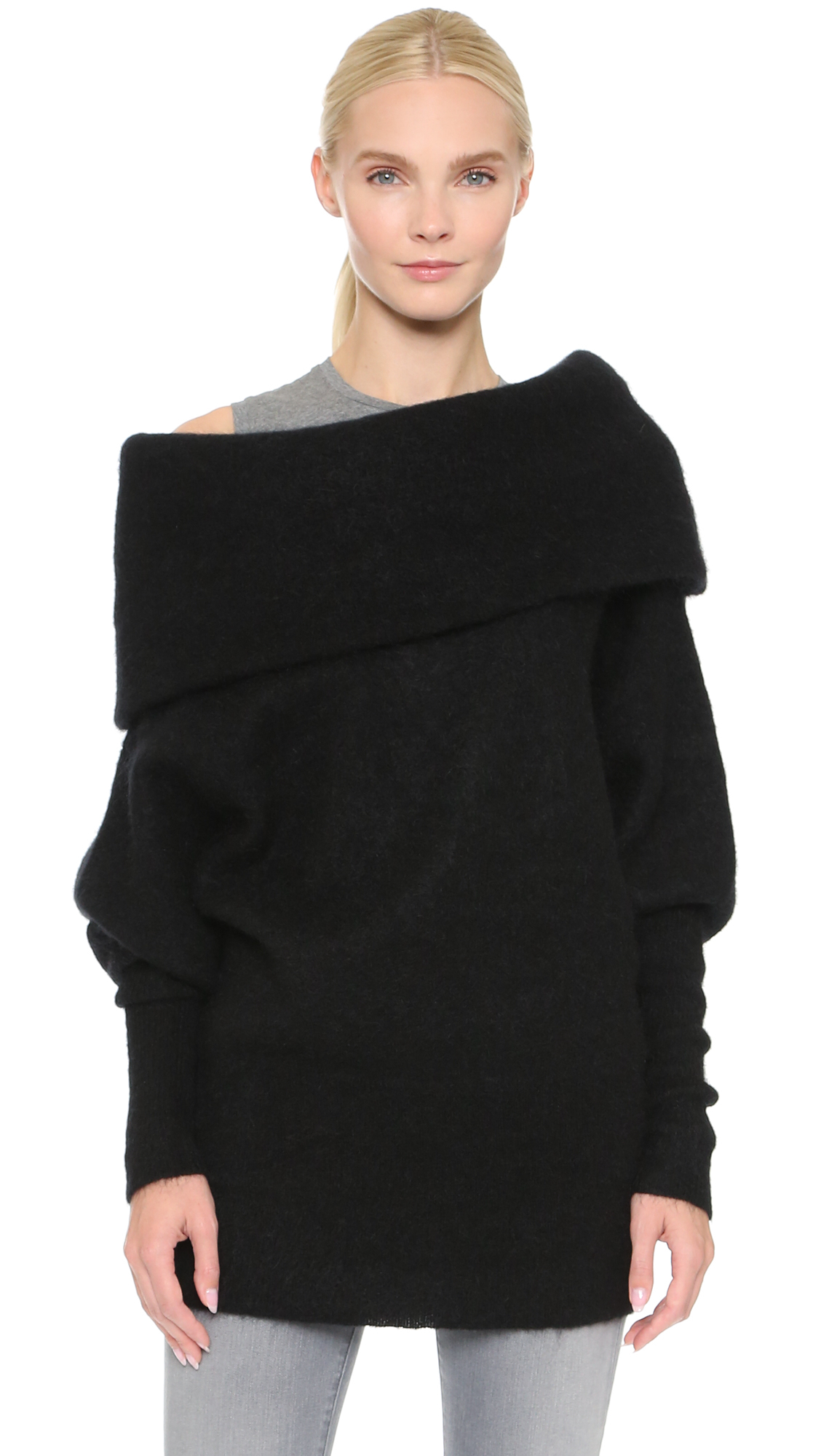 lyst acne studios daze mohair sweater dark grey melange in black. Black Bedroom Furniture Sets. Home Design Ideas
