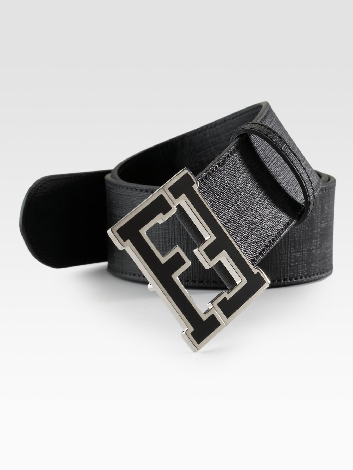 fendi logo college belt in black for men lyst