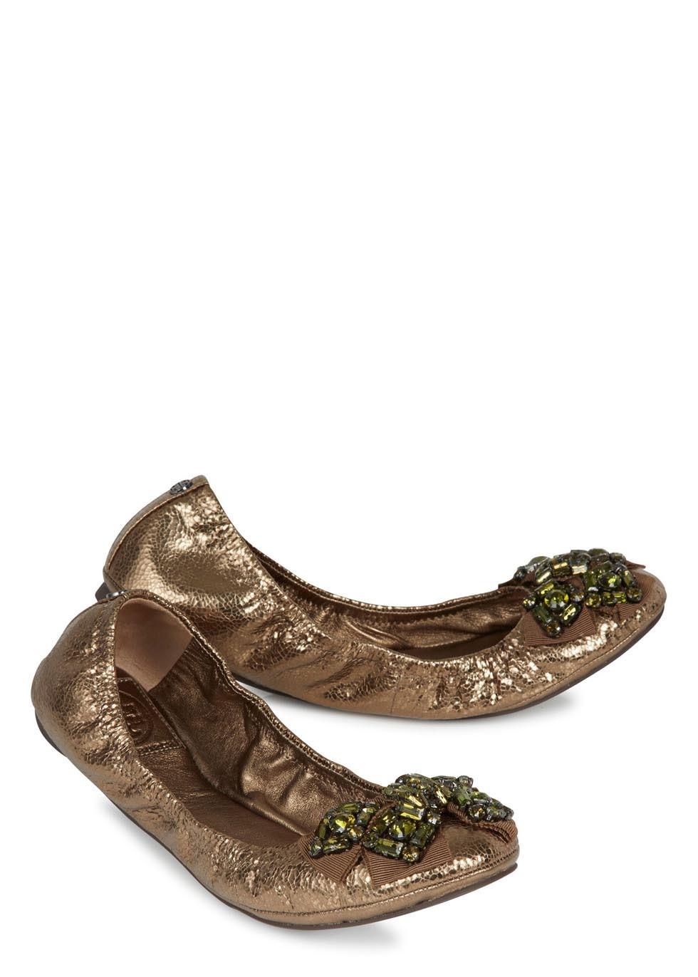 8e353c9abd7 Lyst - Tory Burch Azalea Bronze Cracked Leather Ballet Flats in Metallic