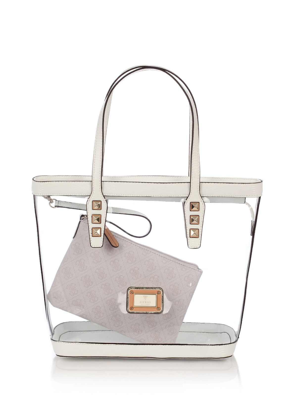 Guess Logo Remix Clear Plastic Tote Bag In Transparent