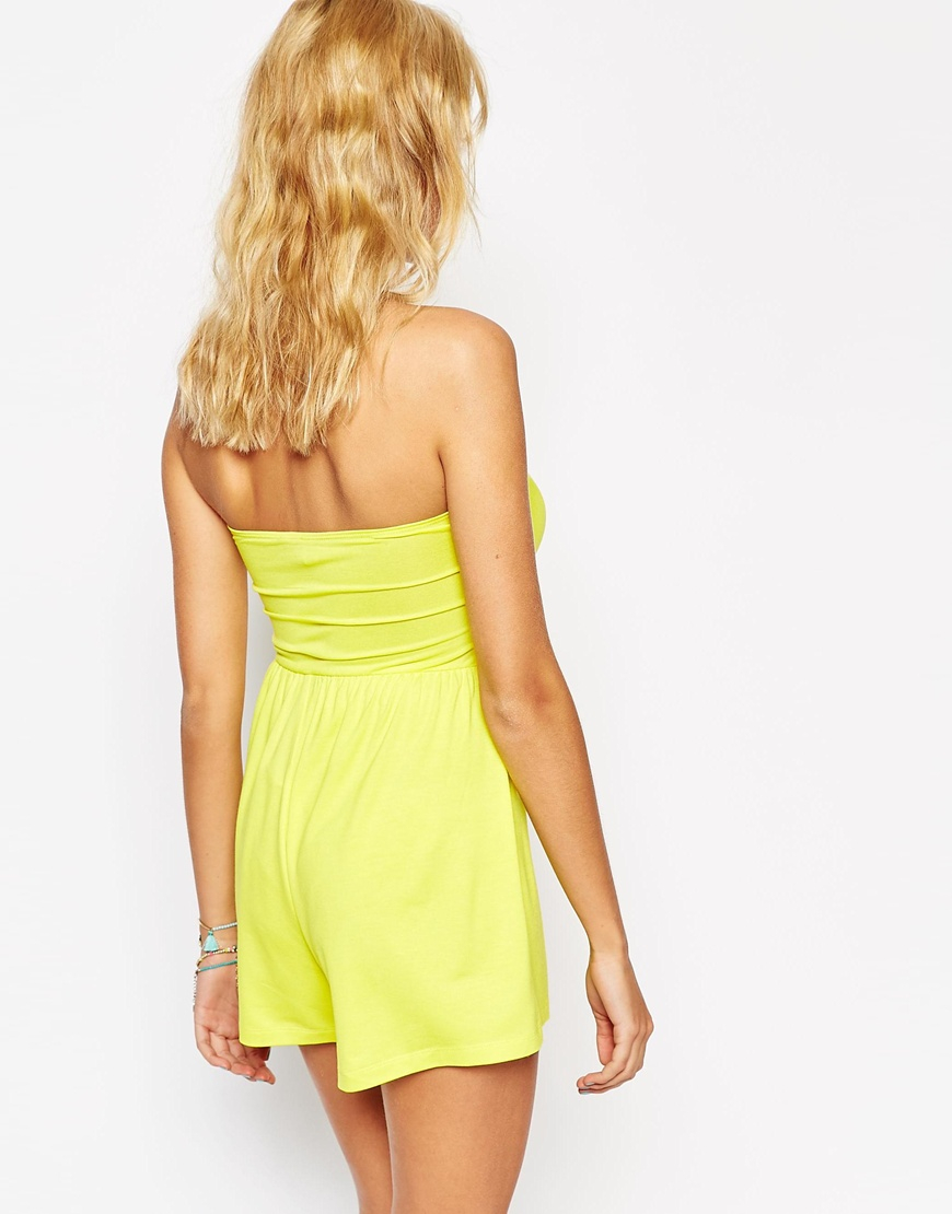 dcbb3c1d269 Lyst - ASOS Bandeau Romper With Scallop Edge in Yellow