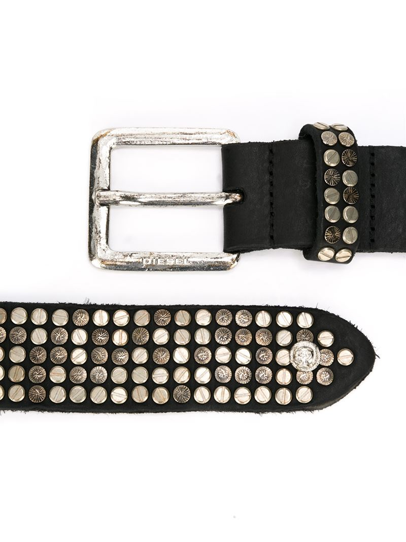 Lyst Diesel Studded Belt In Black For Men