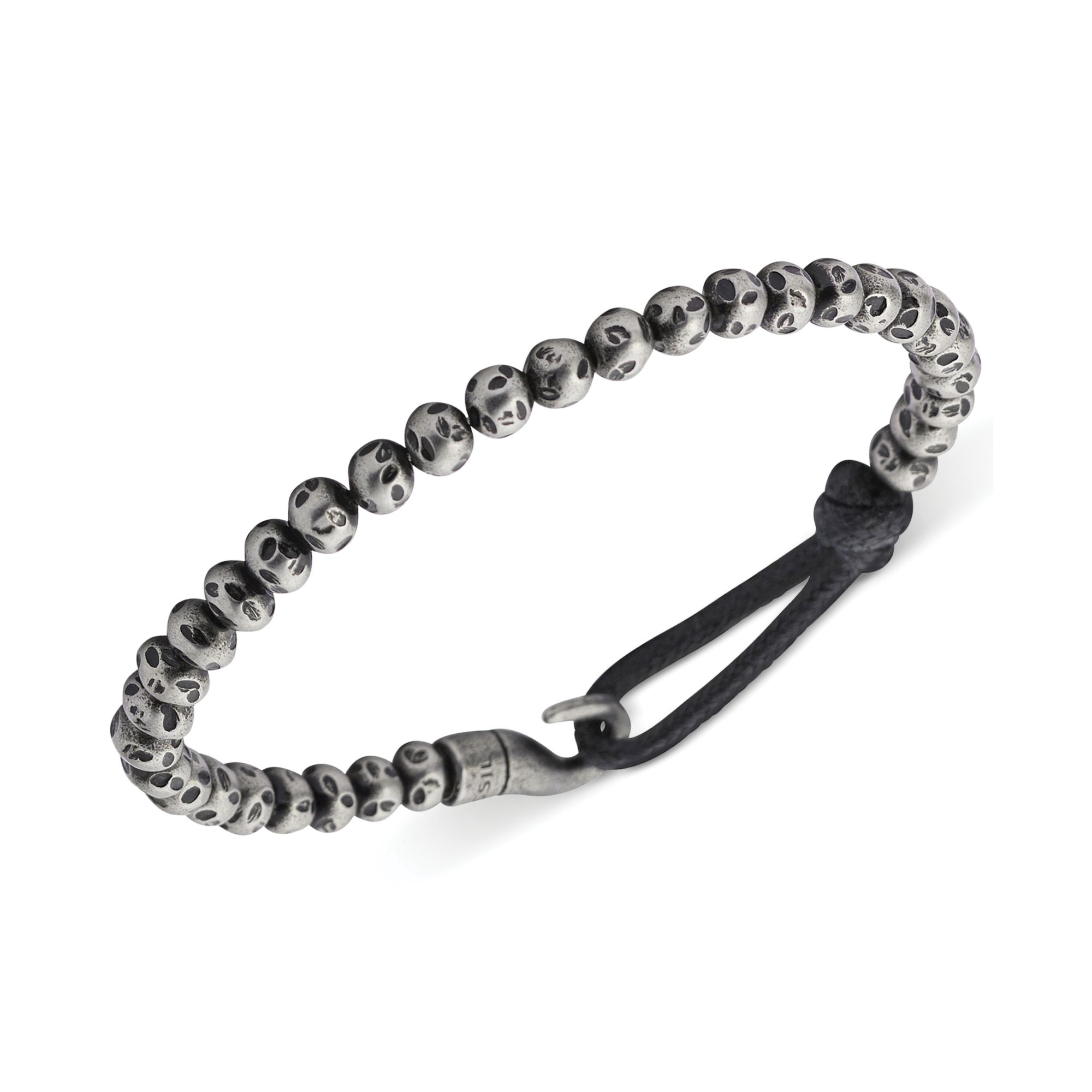 Lyst Fossil Mens Stainless Steel Bead And Bungee Hook Bracelet In