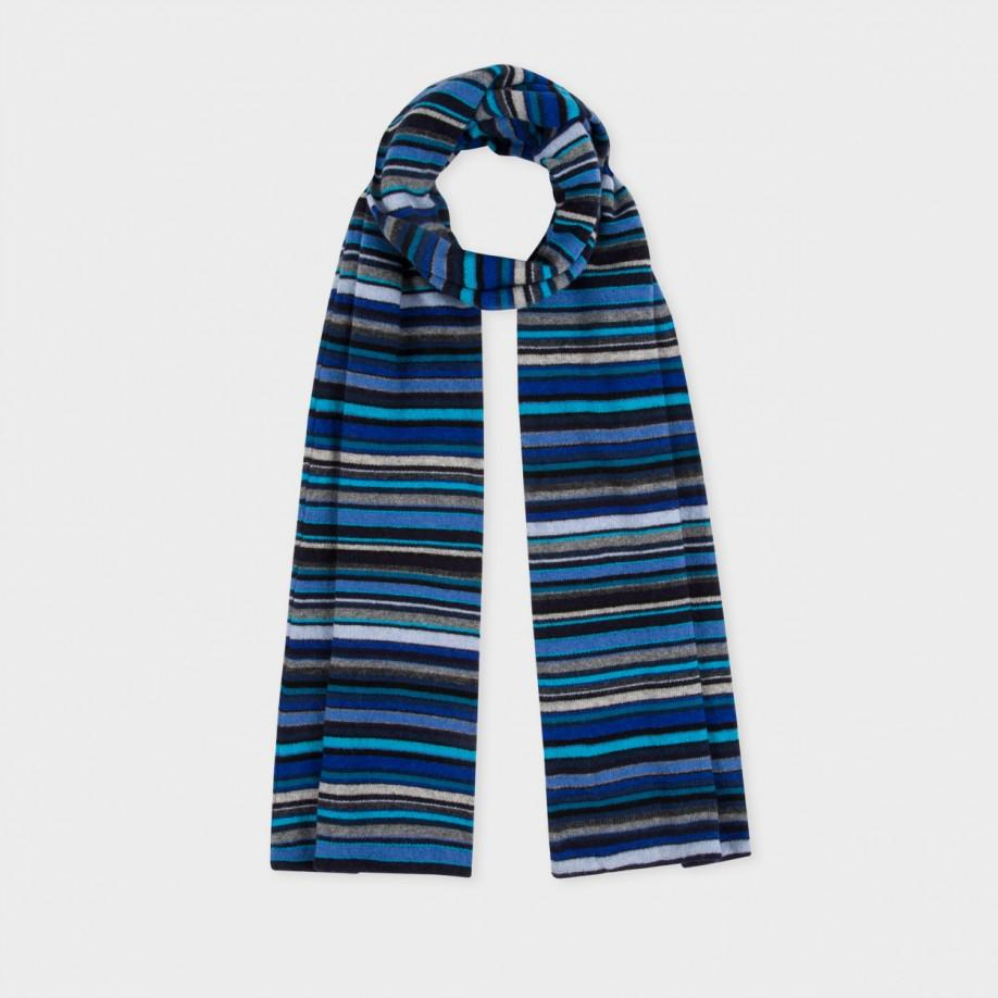 paul smith s blue signature stripe wool scarf