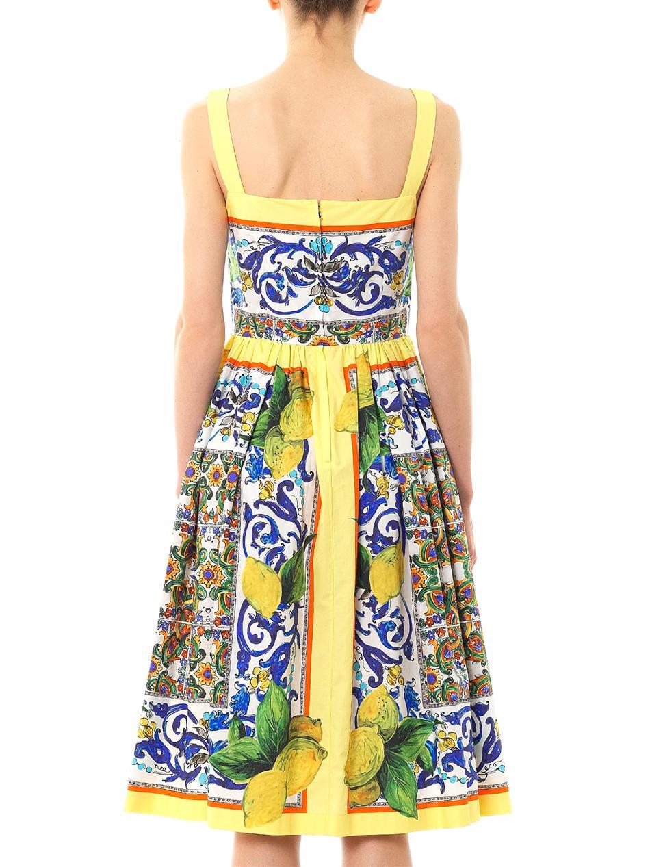 Lyst Dolce Amp Gabbana Lemon Sicilianprint Fullskirt Dress