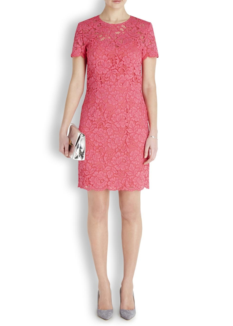 Dkny Bright Pink Lace Dress In Pink Lyst