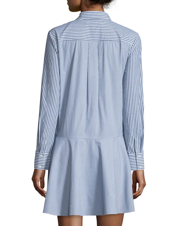 10 Crosby Derek Lam Long Sleeve Striped Cotton Tie Waist