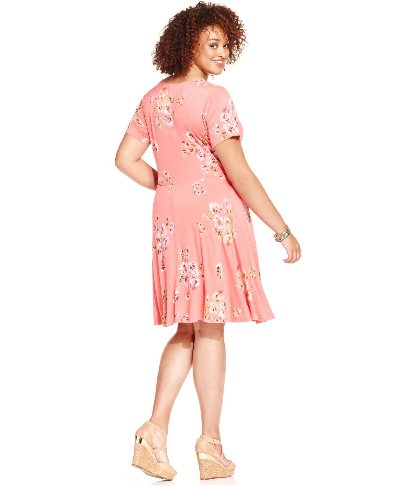 6da74fa2623 Lyst - American Rag Plus Size Short Sleeve Floral Print Skater Dress ...