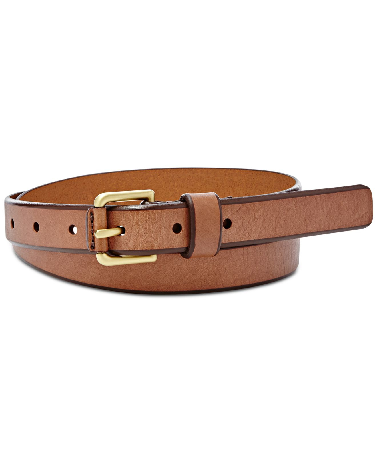 fossil explorer buckle leather belt in brown lyst