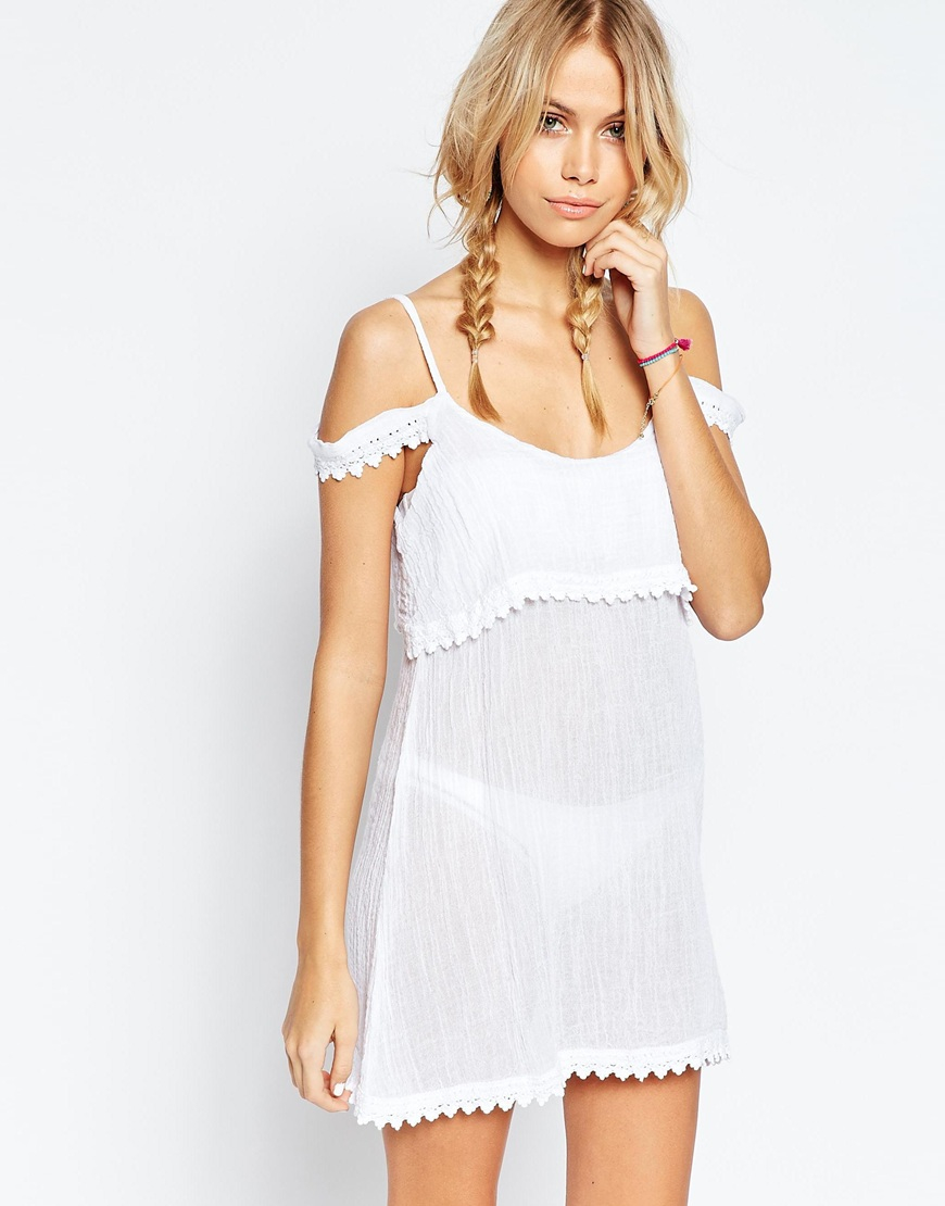 1a595066ac39b Lyst - ASOS Cheesecloth Lace Trim Cold Shoulder Beach Cover Up in White