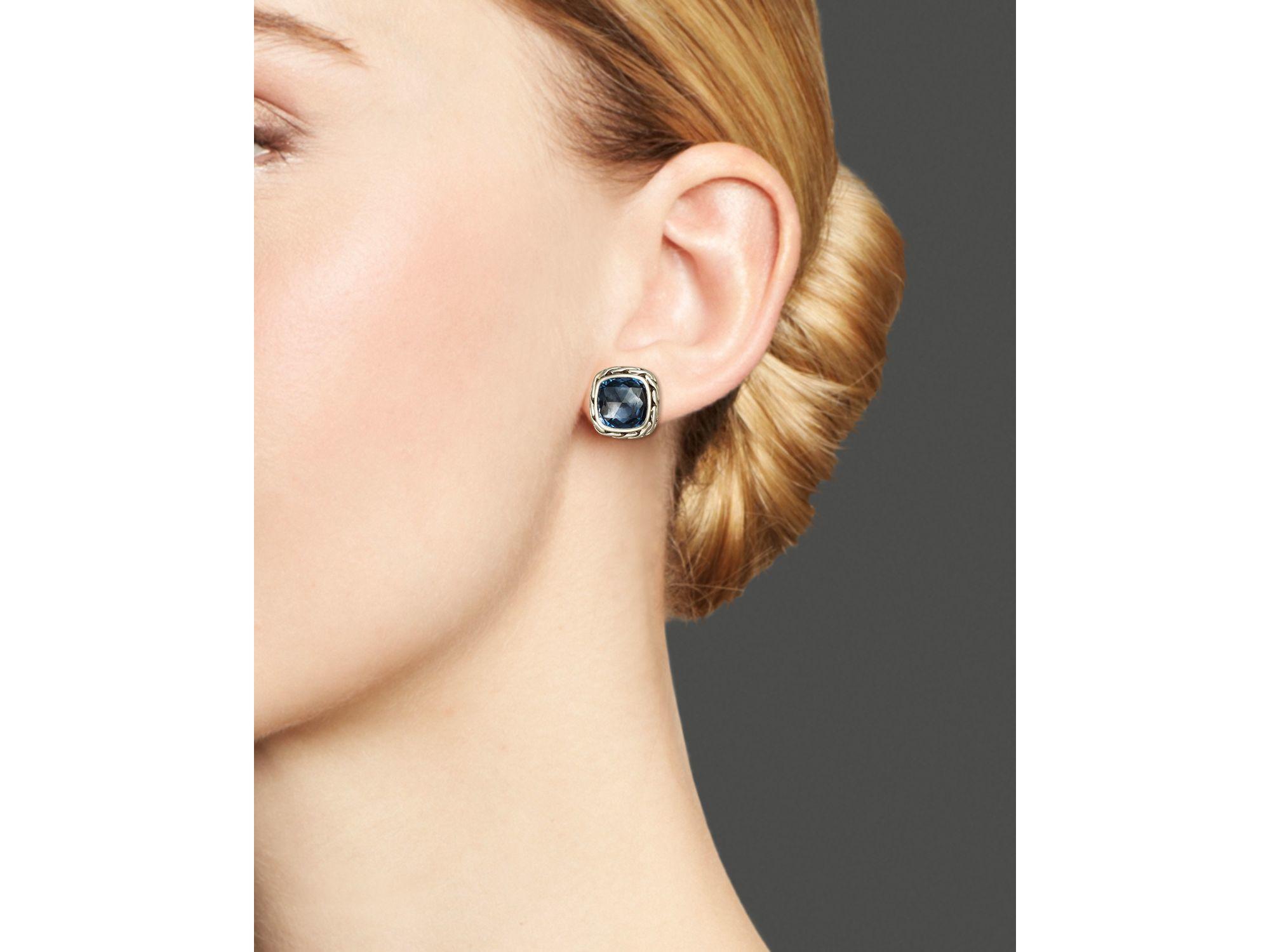 John hardy Classic Chain Stud Earrings With London Blue Topaz in
