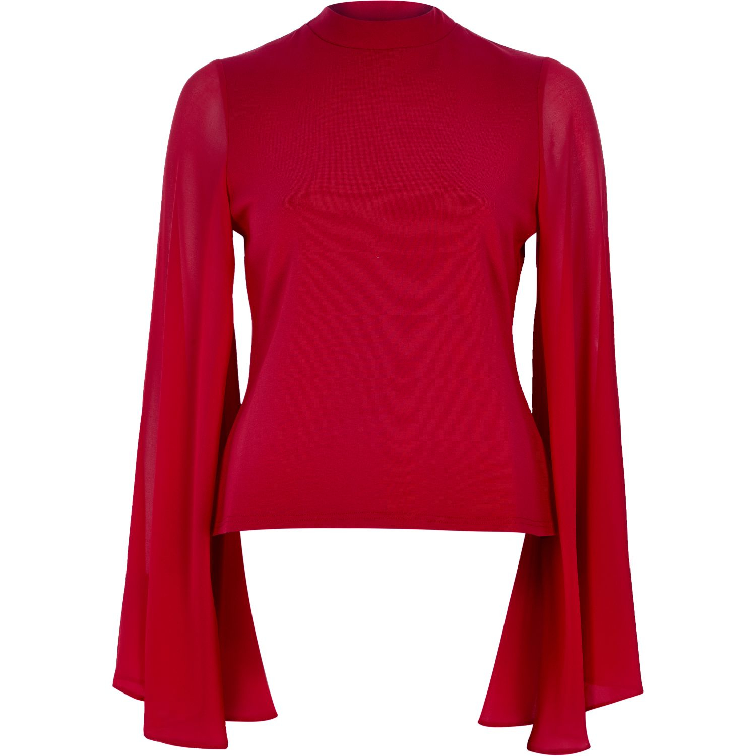 e4bab6f143c9f8 Lyst - River Island Red Flared Sleeve Cut-out Back Top in Red