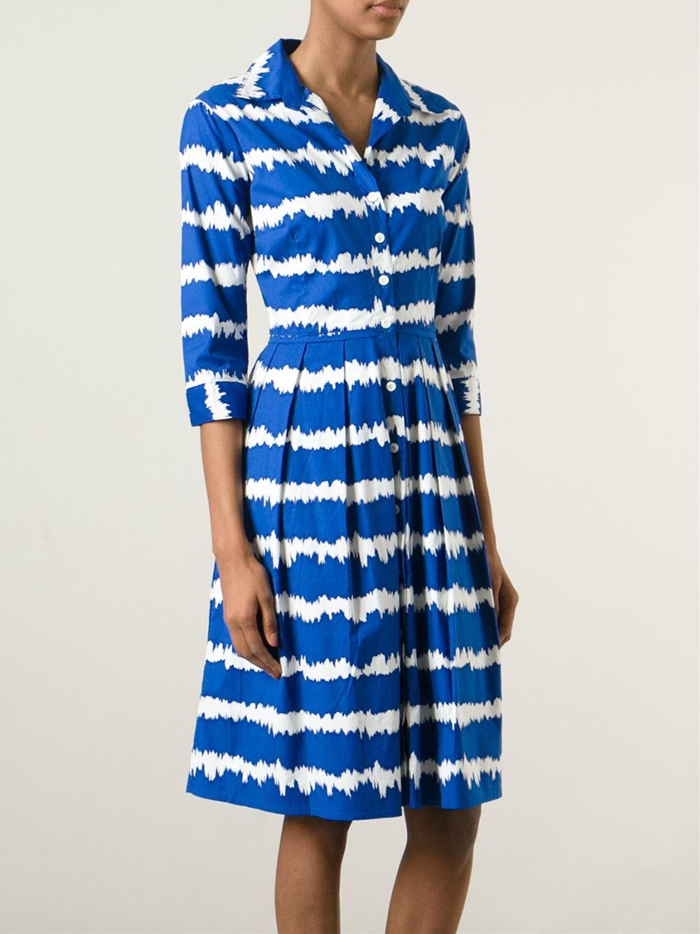Lyst Samantha Sung Audrey Stretch Cotton Dress In Blue