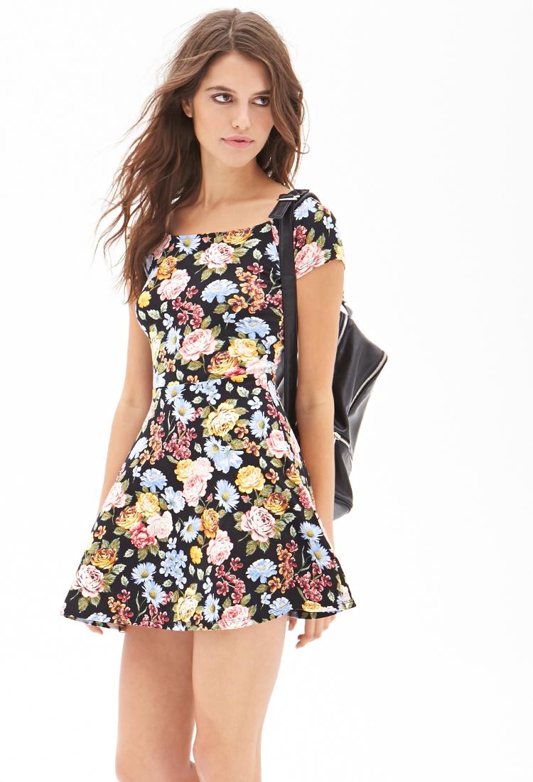 forever 21 floral print skater dress in multicolor black