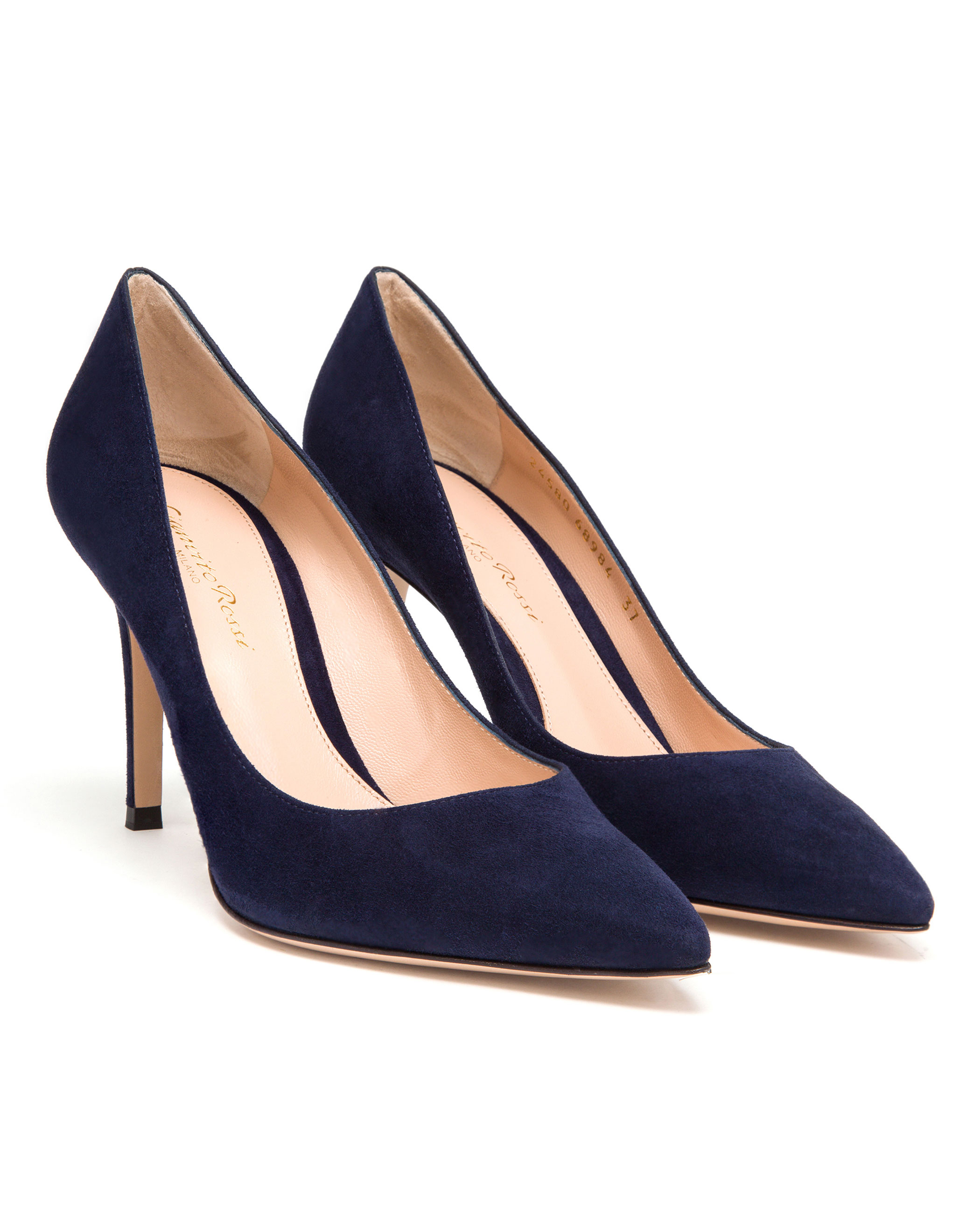 These women's navy blue captoe pumps are crafted in kid suede and accented with a calfskin toecap. Fully leather lined with natural sock. 3 inch oraplanrans.tk: $