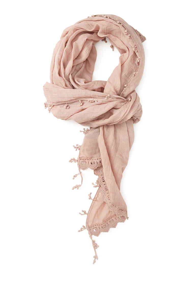 forever 21 crochet trimmed scarf in pink lyst