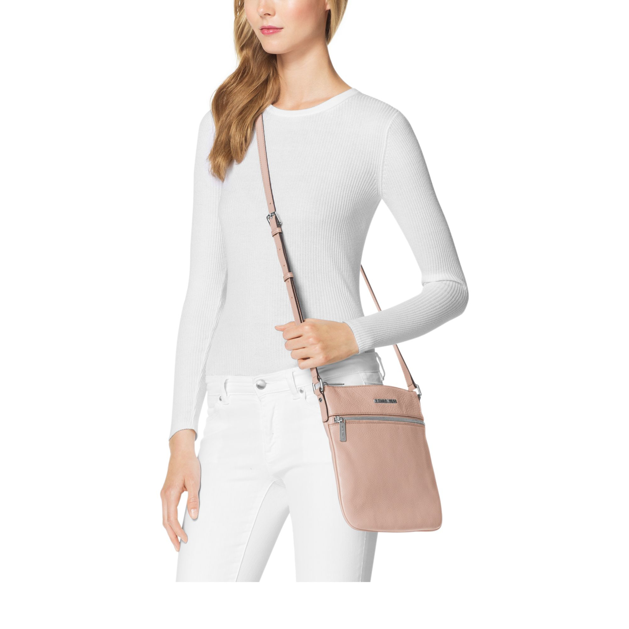 c4ad6d974a969c Michael Kors Bedford Leather Crossbody in Pink - Lyst