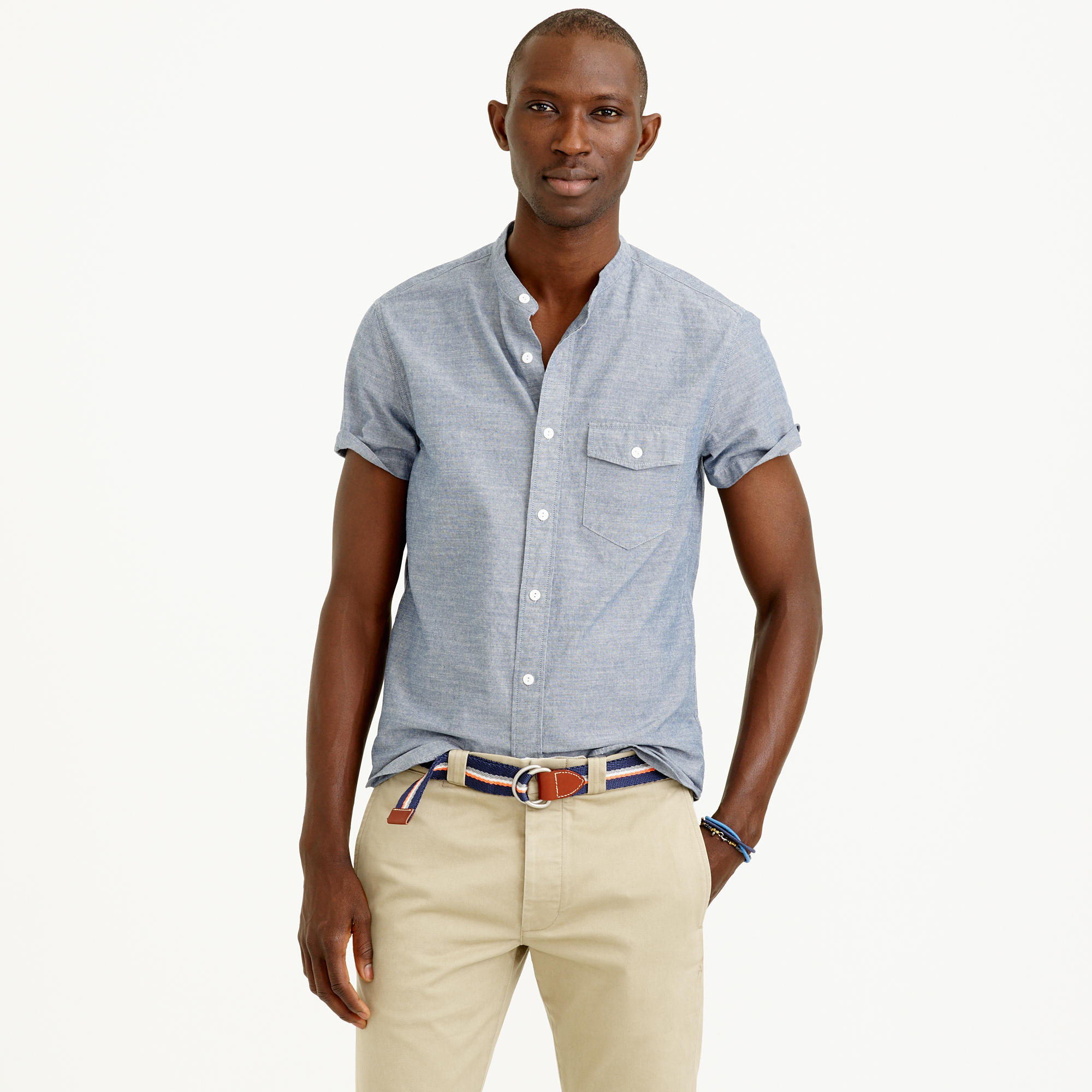 Secret Wash Short Sleeve Band Collar Chambray Shirt